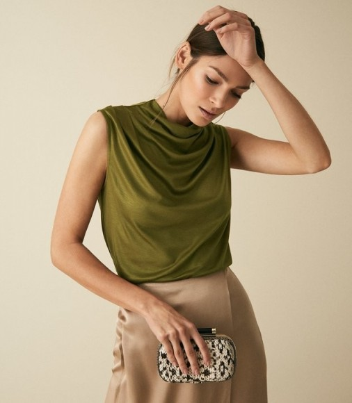 REISS LOLA HIGH NECK SLEEVELESS TOP OLIVE ~ chic draped tops