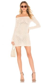 Lovers + Friends Date Night Sweater Dress in Beige | knitted off the shoulder dresses