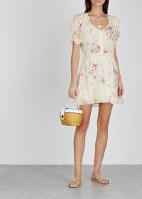 LOVESHACKFANCY Cora floral-print silk mini dress ~ feminine summer fashion