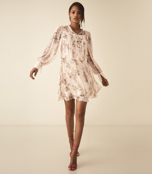 REISS LUCCA FLORAL SMOCK DRESS FLORAL WHITE ~ feminine and floaty clothing