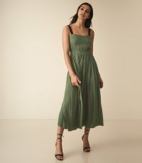 REISS LUELLA PLEATED MIDI DRESS GREEN ~ summer event fit and flare