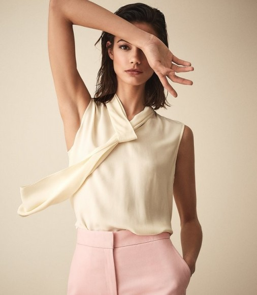 REISS LULA NECK TIE SLEEVELESS TOP OFF WHITE ~ chic look blouses