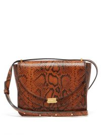 WANDLER Luna python-effect leather bag in brown ~ reptile print shoulder bags