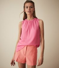 REISS LYLA TAILORED SHORTS CORAL ~ summer colours