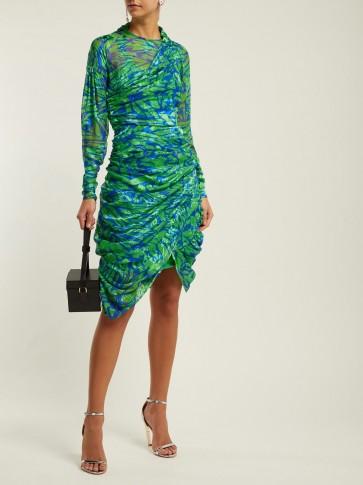 PREEN BY THORNTON BREGAZZI Lynn devoré silk-blend dress in green ~ ruched design ~ asymmetric hemline