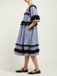 MOLLY GODDARD Macy gingham-cotton midi dress ~ navy-blue checked dresses