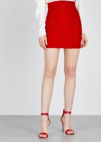 MAGDA BUTRYM Fajardo red ruched linen mini skirt | fitted with high waistline