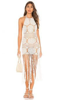 MAJORELLE Amy Crochet Dress in White | fringed knitwear
