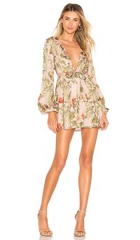 MAJORELLE Berkshire Dress in Pink Bellbird | deep V-neckline tiered mini