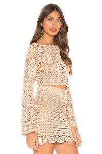 MAJORELLE Harvest Crop Top in Sand | scalloped knitted fashion