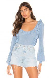 MAJORELLE Leah Sweater in Periwinkle | blue ruffled scoop neck jumper