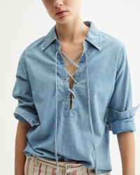 NILI LOTAN MALLORY SHIRT SKY BLUE | front lace-up shirts