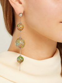 BURBERRY Green marbled drop earrings