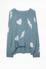 Taylor Swift heart and lightening-bolt pattern jumper, out in Beverly Hills, 3 March 2019, Zadig & Voltaire Marcus Bis Cashmere Sweater | celebrity street style | star knitwear