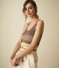 MARIA METALLIC STRIPED KNITTED TOP BROWN | luxe spring tank