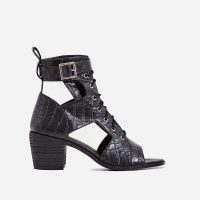 EGO Maria Cut Out Lace Up Ankle Western Boot In Black Croc Print Faux Leather ~ chunky heeled boot
