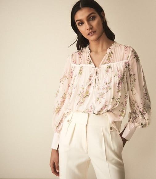 REISS MARINO PRINT FLORAL SMOCK BLOUSE FLORAL WHITE ~ feminine flower printed top