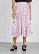 MARKUS LUPFER Hailey floral-print pleated midi skirt in pink / floaty spring skirts