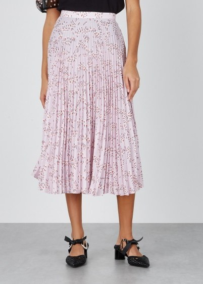 MARKUS LUPFER Hailey floral-print pleated midi skirt in pink / floaty spring skirts - flipped