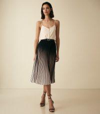 Reiss MARLIE OMBRE PLEATED MIDI SKIRT NEUTRAL/BLACK | two-tone skirts | monochrome