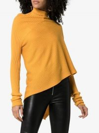 Marques'almeida Mock Neck Asymmetric-Hem Merino Wool Jumper in Mustard | dark-yellow knitwear