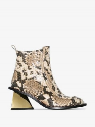 Marques'Almeida 65 Snake-Effect Ankle Boots in beige / gold tone block heel boot