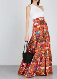 MARY KATRANTZOU Carmen butterfly-print cotton maxi skirt | full floor length skirts | butterflies