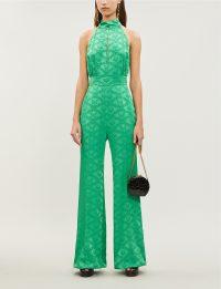 MARY KATRANTZOU Debora jacquard jumpsuit in Malachite ~ green high neck open back jumpsuits ~ evening glamour