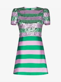 Mary Katrantzou Striped Sequins Dress in green and pink