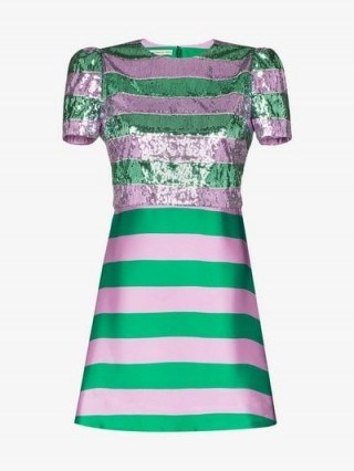 Mary Katrantzou Striped Sequins Dress in green and pink - flipped