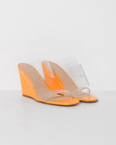 MARYAM NASSIR ZADEH mango olympia wedge | bright orange and clear strap wedges