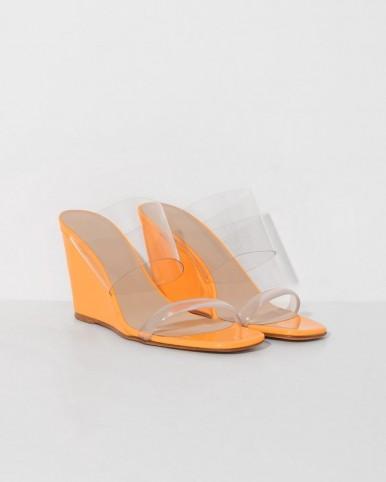 MARYAM NASSIR ZADEH mango olympia wedge in orange ~ clear wedged mules