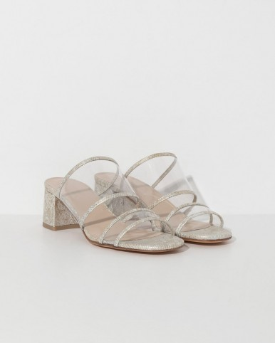 MARYAM NASSIR ZADEH beige snakeskin martina plastic slide in beige ~ snake embossed leather mules ~ transparent strap slip ons