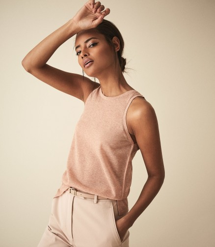 REISS MAUDE SEMI SHEER VEST TOP BLUSH ~ essential pale-pink tank ~ casual luxe