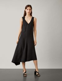 JOSEPH Max Fuji Silk Dress in Black | sleeveless | plunge front | asymmetric hemline