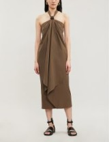 Draped halter neck dresses ~ MAX MARA Egle ruched leather-trimmed cotton-poplin halterneck dress in kaki