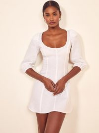 Reformation Maxine Dress in White | scoop neckline mini