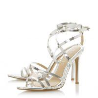 HEAD OVER HEELS Mayye Silver Multi Strap High Heel Sandal | strappy metallic party shoes