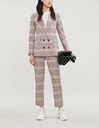 ME AND EM Checked contrast-trim high-rise cropped cotton-blend trousers / crop hem suit pants