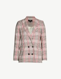 ME AND EM Checked cotton-blend blazer in cream /pink /rust / black