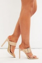 IN THE STYLE MEREN NUDE CROC BUCKLE DETAIL MULES ~ glamorous heels