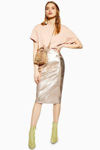TOPSHOP Metallic Leather Pencil Skirt in Champagne / shiny skirts
