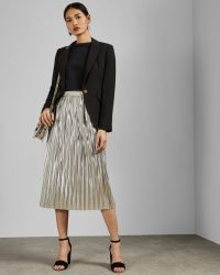 TED BAKER ARIIANA Metallic pleated midi skirt in light grey
