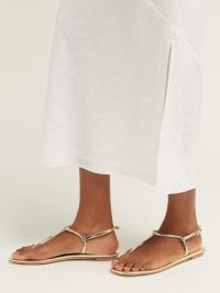 PRADA Metallic-leather sandals in pale-gold ~ barely there vacation flats