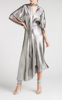 ROLAND MOURET MEYERS DRESS IN SILVER – slinky asymmetric dresses – fluid fabrics