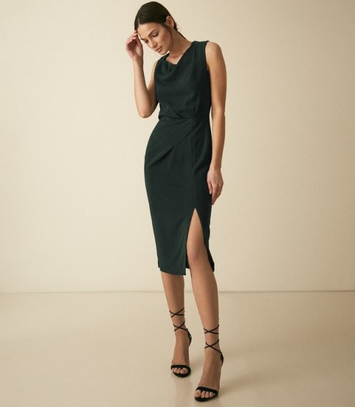 REISS MIA PLEAT DETAILED DRESS GREEN ~ essential contemporary style