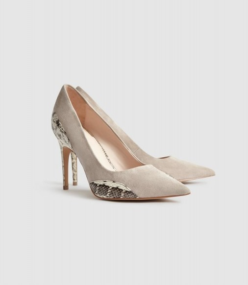 Reiss MIA SNAKE DETAILED SUEDE COURT SHOES NATURAL / glam courts