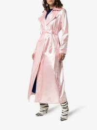 Michael Lo Sordo Belted Maxi-Length Trench Coat in Pink