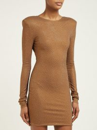 ALEXANDRE VAUTHIER Microcrystal open-back mini dress in brown / crystal embellished party dresses / sparkling evening wear