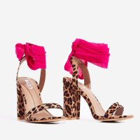 EGO Milan Ribbon Lace Up Block Heel In Tan Leopard Print Faux Suede ~ pink ankle ties